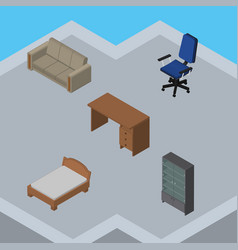 Isometric design set of table bedstead couch and vector