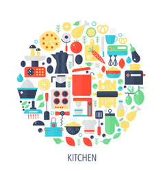 Kitchen flat infographics icons in circle - color vector