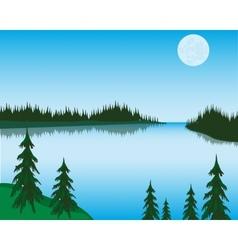Lake in wood vector