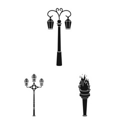 Lamp post black icons in set collection for design vector