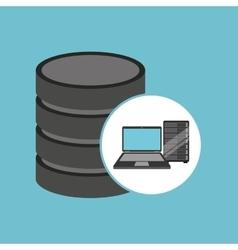 Laptop data server center icon vector