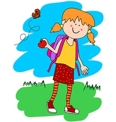Little girl with backpack and apple vector image