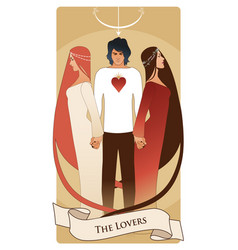 Major arcana tarot cards the lovers young man vector
