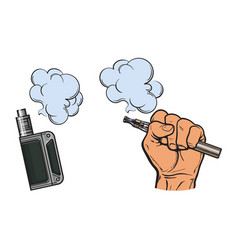 Male hand holding e-cigarette electronic vector