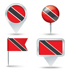 Map pins with flag of Trinidad and Tobago vector