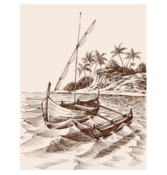 marina drawing fishing boat on shore vector image