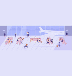 men and women inside airport terminal building vector image