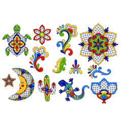 Mexican traditional decorative objects vector
