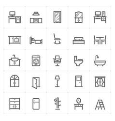 mini icon set - furniture icon vector image