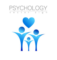 Modern people psi sign of psychology heart family vector