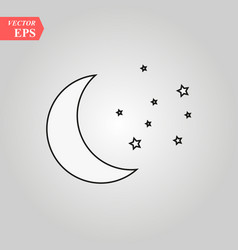 Moon and stars icon isolated vector