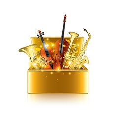 Musical instruments box isolated vector