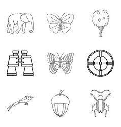 natural philosopher icons set outline style vector image