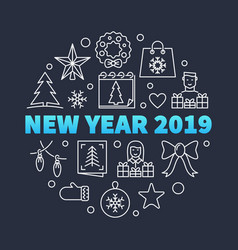 new year 2019 round concept in vector image