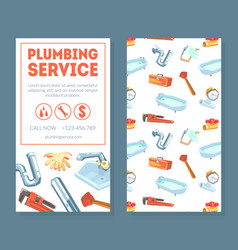 plumbing service business card template vector image