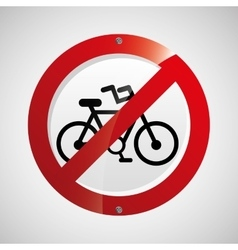 Prohibited traffic bike sign round icon design vector