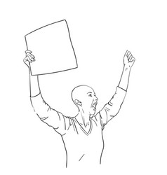 protest bald woman with blank sign board is vector image