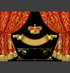Red curtains with crown and retro decorative vector