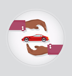 Red modern fast sports car in two careful hands vector