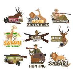 safari hunting club african animals hunt icons vector image