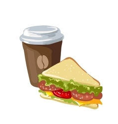 Sandwich and cup of coffee vector image
