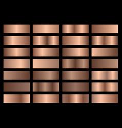 Set bronze metallic gradients swatches vector