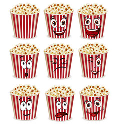 set cartoon happy popcorn basket vector image