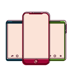 set of mobile phone gadget with blank screen vector image