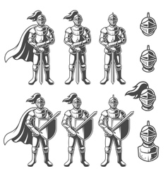 Set of monochrome knights vector image
