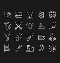 Sewing simple white line icons set vector