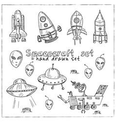 spacecraft hand drawn doodle set vector image