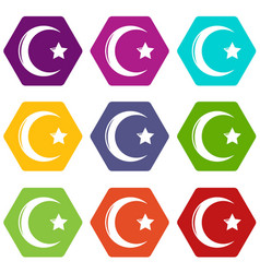 Star crescent symbol islam icons set 9 vector