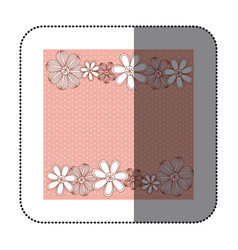 Sticker color pattern dotted with row flowers vector
