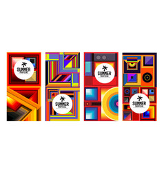 Summer tropical abstract geometric colorful vector