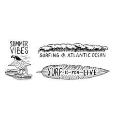 surf badge vintage surfer logo retro wave and vector image