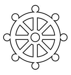 Symbol budhism wheel law religious sign icon vector