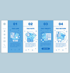 Taxes system onboarding mobile web pages template vector