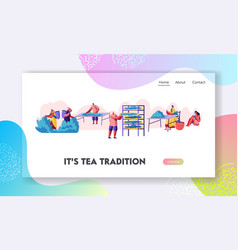 tea pickers website landing page characters vector image