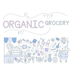 Templates for design of organic grocery store with vector