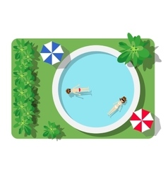 Top view of the swimming pool vector image