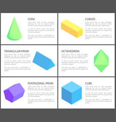 triangular and pentagonal prisms geometric set vector image