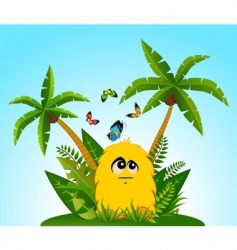 Tropical cartoon animal vector