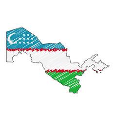 Uzbekistan map hand drawn sketch concept vector