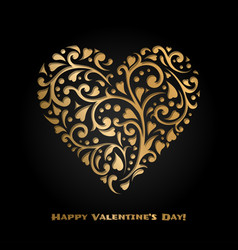 valentines day card with gold ornate heart vector image