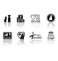 veterinary icon set with reflection vector image