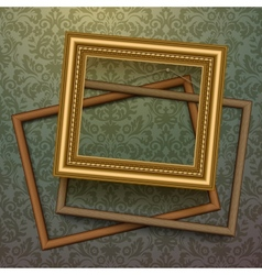 Vintage golden frames on floral background vector