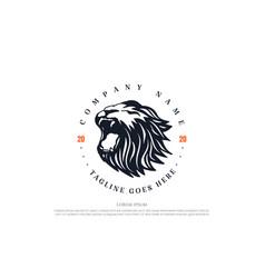 vintage retro angry lion head badge emblem logo vector image