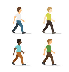 walking young man in flat style vector image