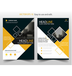 Yellow annual report brochure flyer design vector