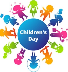 Children's Day Cartoon Silhouette Icon vector image vector image